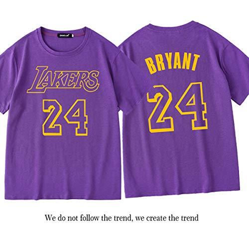 De Lakers Kobe # 24 Basketball Print korte mouwen, Heren Loose Loose Crew Neck T-shirt, Zomer ademend Fans Shirt Tee,H,M