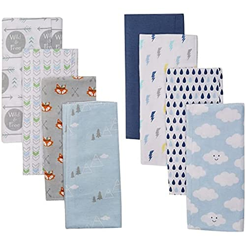 Luvable Friends Boy Cotton Flannel 8-Pack Wild discount Free Bombing free shipping Cloth Burp