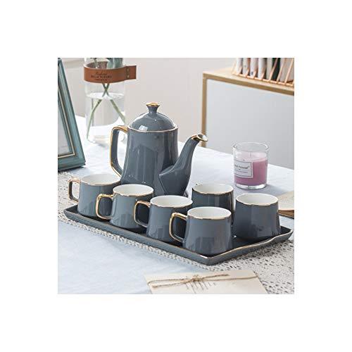 Juego de té con tetera de cristal y platillo, juego de taza y platillo para té moderno Size Gris dorado.