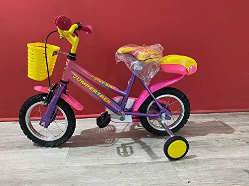 CINZIA JUMPERTREK Fahrrad Pony Mädchen Jungen Mädchen 12 Zoll mit Rädern Violett Rosa
