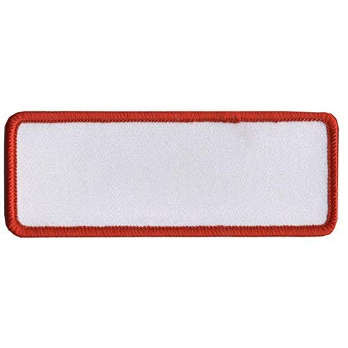 """BLANK WHITE with RED TRIM, Saw-On Rayon PATCH - 4"""" x 1.5"""", Exceptional Quality"""