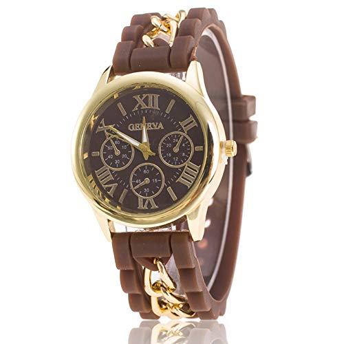 XuBa Reloj de pulsera de silicona para mujer, estilo romano, literalmente, falso, de 3 ojos, color marrón