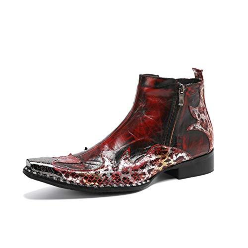 Herren Stiefeletten Cowboystiefel Cowboy Stiefel Metall Spitze Zehe Lederstiefel Echtes Leder Exquisite Reißverschluss Kleid Party Schuhe, Rot, Größe UK,Rot,EU 46/ UK 12