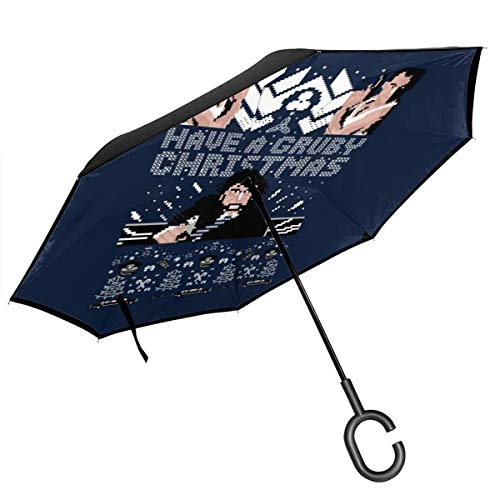 Gruber Weihnachts-Regenschirm, zweilagig, gestrickt, doppelschichtig, umgekehrt, faltbar, mit C-förmigen Händen – leicht und Winddicht