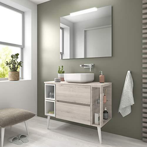 Yellowshop. - Mobile Bagno sospeso 100 cm Stile Moderno lavabo appoggio specchiera LED MOD. Evo (Legno Naturale)