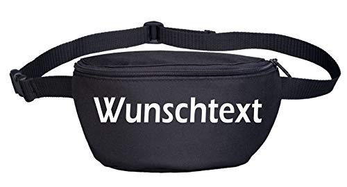 Bauchtasche mit Wunschtext - Blockschrift - Bedruckt - Gürteltasche Hipbag Druckfarbe: Weiss
