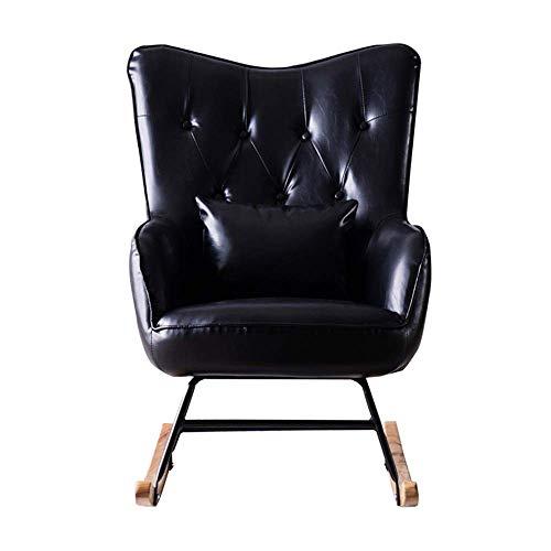 XUXUWA - Silla mecedora reclinable para sala de estar, dormitorio, balcón (color: negro, tamaño: 95 x 80 x 66 cm)