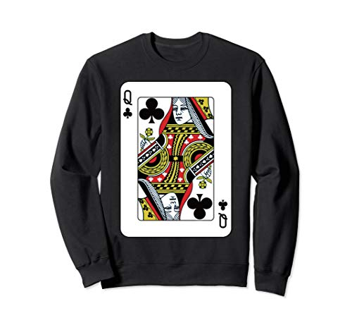 Queen Of The Clubs Playing Card Poker Sweatshirt
