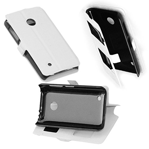 CUSTODIA IN ECO PELLE NERA con cover in silicone PROTEZIONE FLIP CASE ULTRA SLIM per Nokia Lumia 530