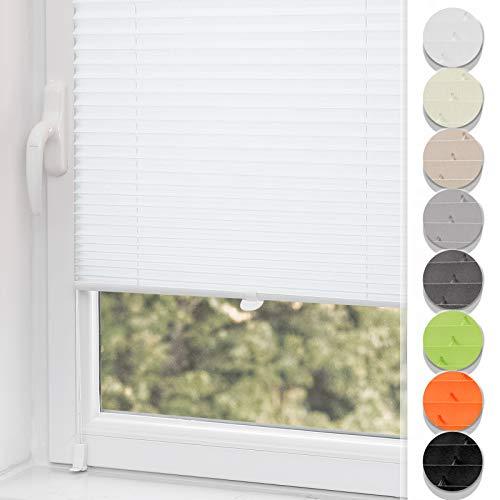 Plissee ohne Bohren klemmfix Jalousie Sonnenschutz Easyfix Faltrollo Crushed Optik Lichtdurchlässig Rollo für Fenster & Tür Weiß 35x100cm(BXH)