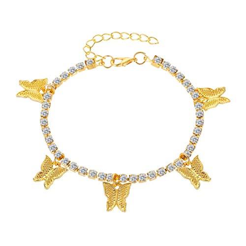 NHUAIYINSHUGUOGUANGGAOJINGY Creative Diamond Small Butterfly Anhänger Fußkettchen Weibliche ular Persönlichkeit Shiny Ankle Bralet Chain Fuß Ornamente