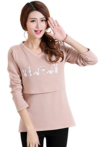 Epmami Womens Long Sleeves Christmas Nursing Tops/Sweater Winter Maternity Breastfeeding Shirts (Brown, Small)