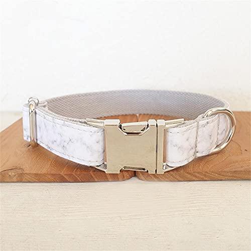 Collar de Mascota de marmoleado Blanco Personalizado Etiqueta de identificación de Cachorro Personalizada Accesorio de Gato Ajustable Collares de Perro básicos -Collar_M