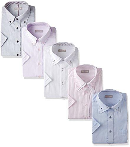 [ドレスコード101] ワイシャツ 半袖 5枚セット ビジネスシーンにぴったり 半袖シャツ 形態安定 クールビズ Yシャツ カッターシャツ メンズ HA004 首回り39cm