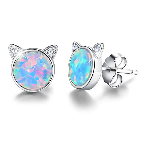Gift for Christmas Esberry 18K Gold Plating 925 Sterling Silver Opal Cat Stud Earrings Cute Cat with Natural Stone Hypoallergenic Earrings for Women and Girls (White Gold-Blue Opal)