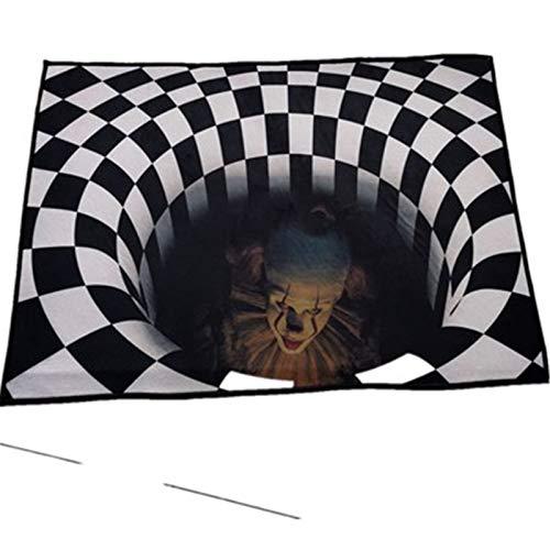 vortex ilusion - Alfombra de visión estéreo 3D para Halloween ilusión felpudo antideslizante para sala de estar, dormitorio, alfombra de piso (80 x 120 cm)
