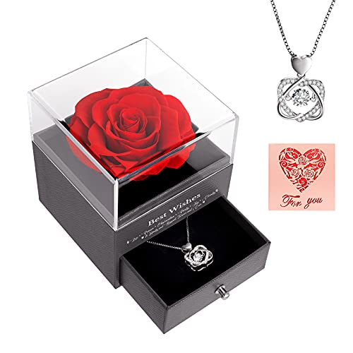 AirCover Preserved Real Rose with Heart Necklace and Greeting Card. Forever Rose Gifts for Mom/Women/Girlfriend/Wife/Her/Best Friend/Valentine's Day/Birthday/Anniversary/Thanksgiving/Christmas. (Red)