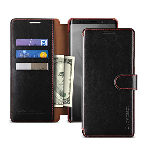Note 9 Case, VRS Design [Black] 3 Cards PU Leather Wallet [Layered Dandy] Phone Case Flip Folio Wallet Cover for Galaxy Note 9 (2018)