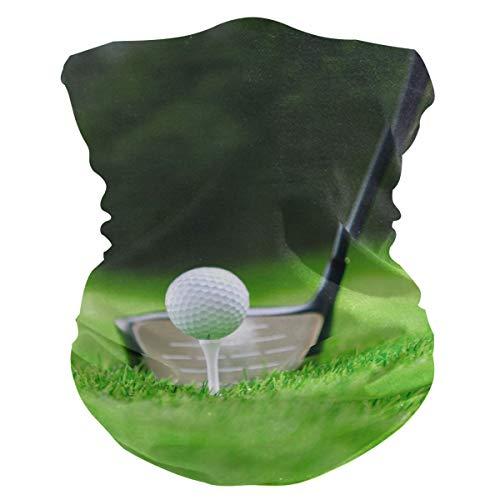 BIGJOKE Gesichtsmaske mit Golfball-Muster, winddicht, UV-Schutz, Kopftuch, waschbar, Halstuch für Damen und Herren, Outdoor-Aktivitäten, Staub, Yoga