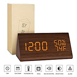 BlaCOG Alarm Clock Display Time Date Temperature,Wooden Alarm Clock for Bedroom,Digital clock Adjustable Brightness Voice Control-Brown/Orange