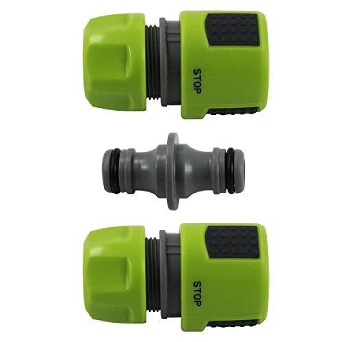 com-four® 3er Set Gartenschlauch-Verbinder mit Stop-Funktion - Wasserstop, Verbindungsstück - Schlauchkupplung - Schlauch-Reparator - 13 mm, 1/2