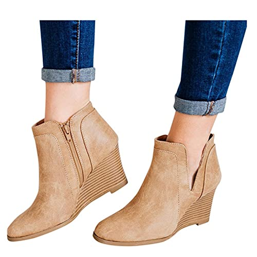 Aunimeifly Women's Wedges Zipper Short Booties Round Toe Hollow-Out Low Heel Booties Closed Toe Slip-on Walking Shoes