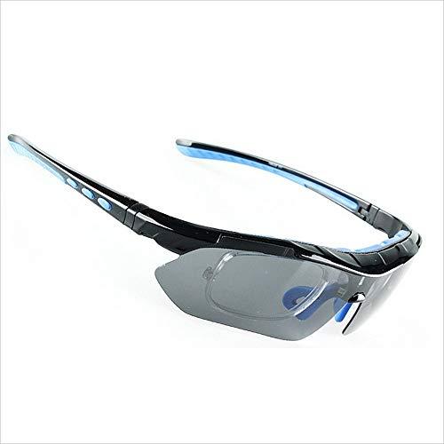 Gafas de moda Gafas de sol deportivas con marco de miopía 5 piezas intercambiables lentes polarizadas para hombres mujeres pesca al aire libre conducción montar a caballo Occhiali (Color : Blue)