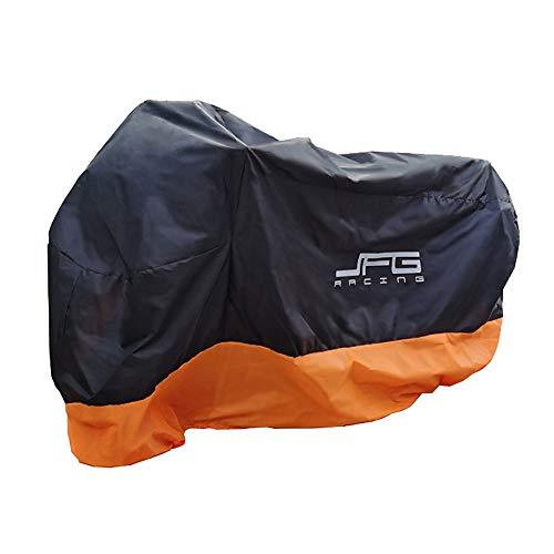 JFG RACING Housse de moto imperméable en tissu Oxford très résistant pour l'extérieur - Noir et orange - M