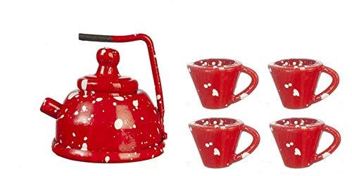 Melody Jane Puppenhaus Rot Punkt Tee Topf Wasserkessel & Becher Becher Metall Küchenzubehör 1:12