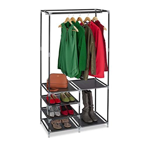 Relaxdays Offener Kleiderschrank, Schuhablagen für 10 Paar Schuhe, Kleiderstange, Garderobe HBT: 160x84x43 cm, schwarz