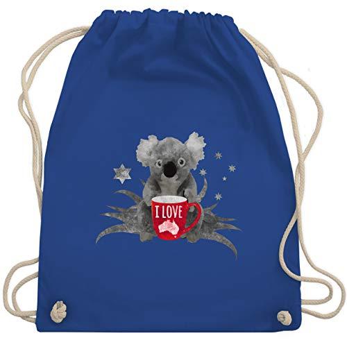 Shirtracer Kontinente - I love Australien Koala - Unisize - Royalblau - koala - WM110 - Turnbeutel und Stoffbeutel aus Baumwolle