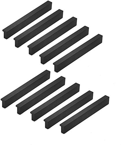 Qrity 20X Armario de aluminio moderno Armario Tirador de puerta Tiradores para muebles Tiradores, Centro de agujero 96 mm, Negro