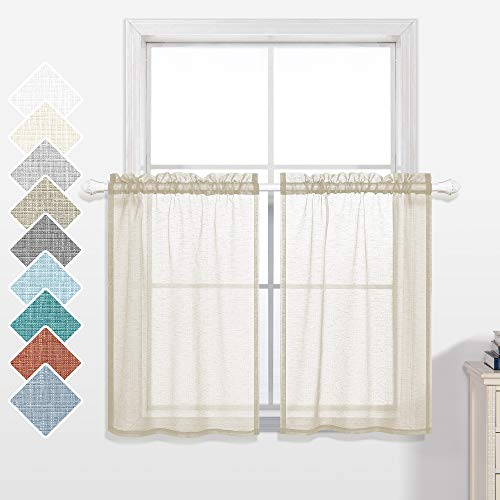 30 Inch Curtains for Kitchen Windows Set of 2 Pack Cafe Curtain Tiers Sheer Cream Beige Short Curtains for Small Windows Bathroom 30x30 Inch Length