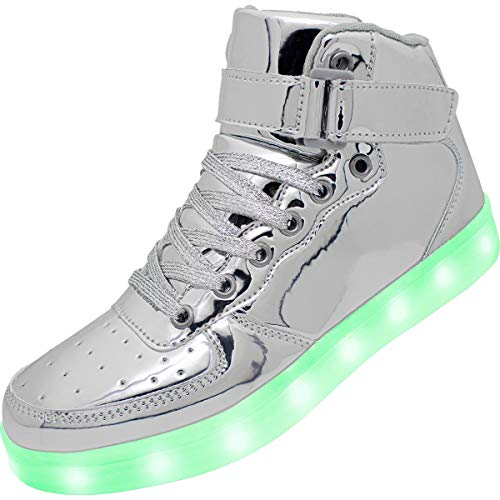 APTESOL Kids Youth LED Light Up Sneakers Unisex Boys Girls High Tops Cute Cool Flashing Shoes Halloween Xmas School Birthday Party Dancing Shoes,Silver,7.5 Big Kid