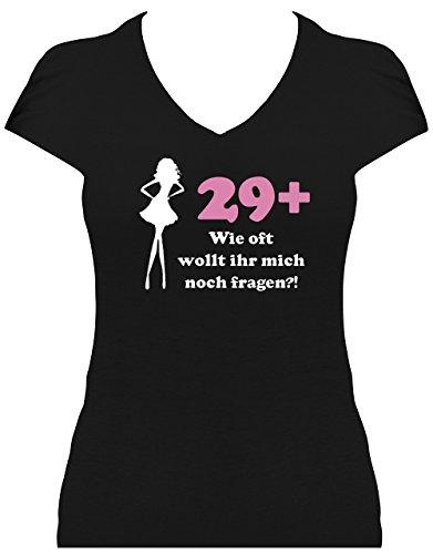 Fun Shirt 30. Geburtstag Damen Aufdruck 29+ Wie oft wollt Ihr Mich noch Fragen, T-Shirt, Grösse M, schwarz