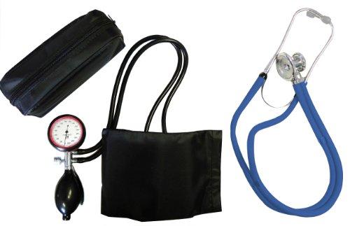 Blutdruckmessgerät Set Oberarm Tiga-Gold 2 2-Schlauch Oberarm Gerät plus Stethoskop Rappaport Blau Doppelkopf zertifizierte originale Tiga-Med Qualität
