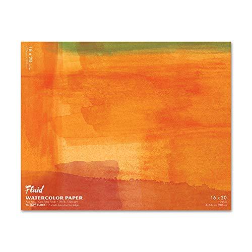 Fluid Watercolor Paper 881620 140LB Cold Press 16 x 20 Block, 15 Sheets