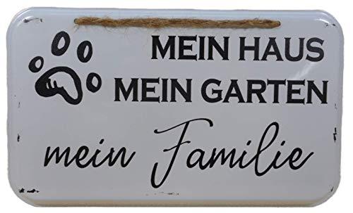 N / A Cartel de chapa para perro, casa, jardín, familia, 20 x 12 cm, cartel decorativo Trend E242