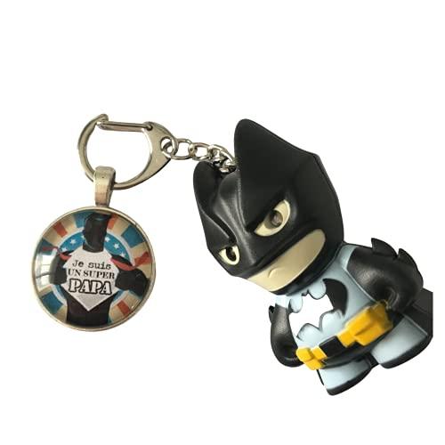Papa et Batman lumineux - Porte clés rond cabochon verre de 25mm