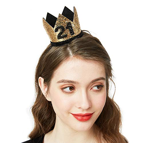 21st Birthday Crown - 21st Birthday Party Hats Birthday Gifts for Women Party Favors Hair Accessories (Black/Gold)