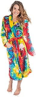 Image of Colorful Fleece Hooded Tie Dye Bath Robe for Women