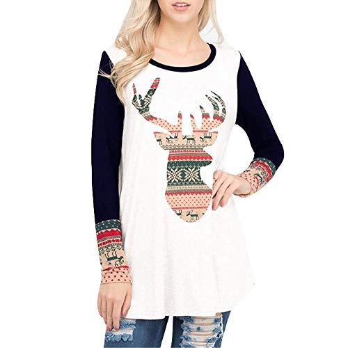 Huixin Mode Tops Dames De Noël Élan Imprimer O Vêtements Manches Vintage Col À Longues Top Blouse Shirt Chemise Tops Noël Femmes Chemise De Noël pour Le Carnaval (Color : Marine, Size : M)