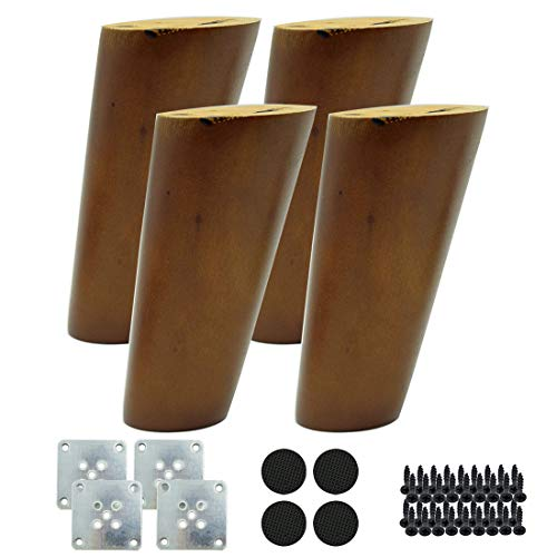 Hxchen 4Pcs 120mm Vertical Height Wood Sofa Legs Walnut Finished Furniture Feet Replacement Legs Universal for Coffee Table IKEA Buffets Bed Sideboards Cupboard Dresser Oblique Foot Walnut Color