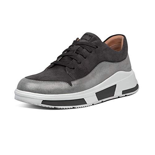 FitFlop Freya Lace Up Low Top Sneaker, Zapatillas Mujer, Gris (Aw19 Elephant Grey 049), 37 EU
