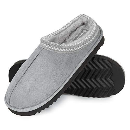 Dunlop Zapatillas Casa Hombre, Zapatillas Hombre Interior Forro Polar, Pantuflas Hombre Suela Antideslizante, Regalos Originales para Hombre y Adolescentes (41, Gris, Numeric_41)