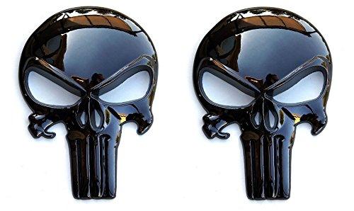 Fixxxer LLC Adhesivo metálico 3D Negro Brillante de Calidad Premium (2 Unidades) – Calavera táctica para Revista de Pistola, Coche, camión, Motocicleta, etc.