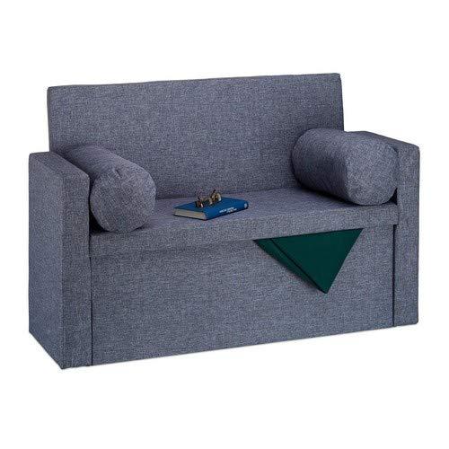 Relaxdays Sitzbank mit Lehne, 2 Kissenrollen, faltbar, Aufbewahrung, gepolstert, Flur, Sitztruhe 75 x 115 x 47 cm, Grau