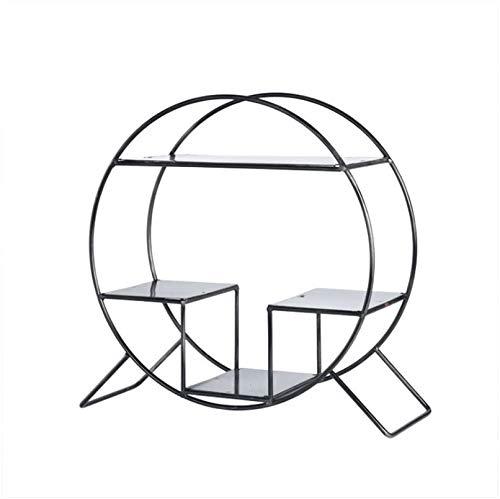 Dongyd - Estante de escritorio de hierro forjado nórdico, soporte de exhibición para muebles para el hogar (color negro)