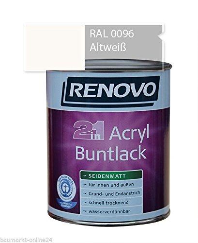 Acryl-Buntlack 2-in-1 125 ml RAL 0096 Altweiß seidenmatt Renovo