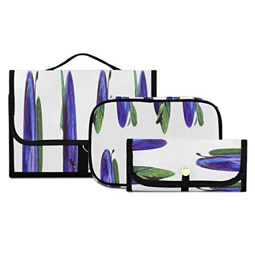 Bolsa de baño Blue Plum Snack Food Frutos Secos Bolsa de baño Lavable y Plegable Bolsas de Maquillaje Personalizadas para Mujeres Adecuado para Viajes, Deportes y Fitness, hoteles Familiares, maquill